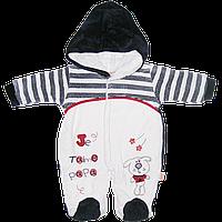 Детский комбинезон на кнопках, с капюшоном, велюр на подкладке из махры (длинный ворс), Турция, р.56,62,68