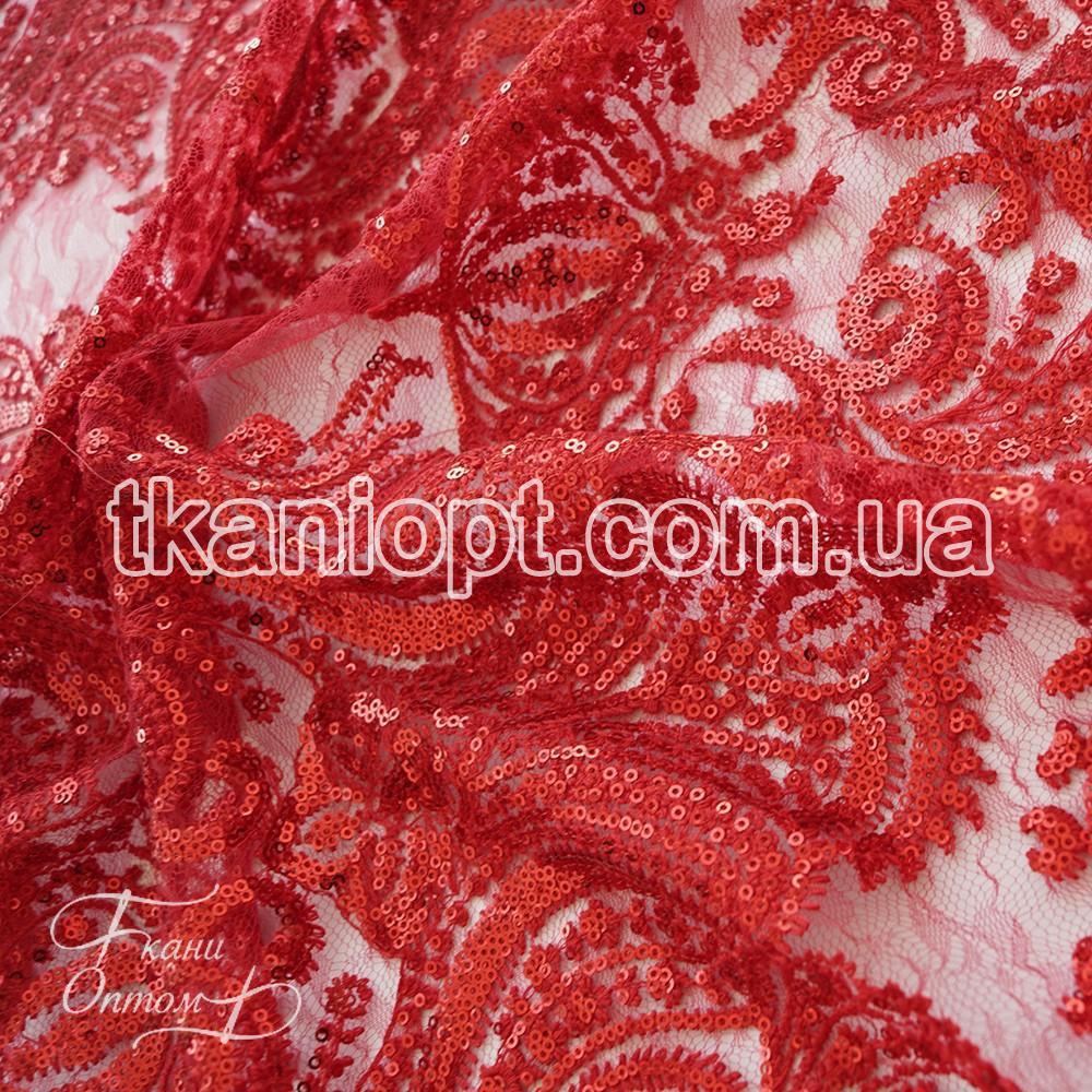 Ткань Гипюр с пайеткой Корона (красный) представлен в магазине Ткани ... d0688dcab30