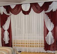 Комплект штор с ламбрекеном шифоновый №132