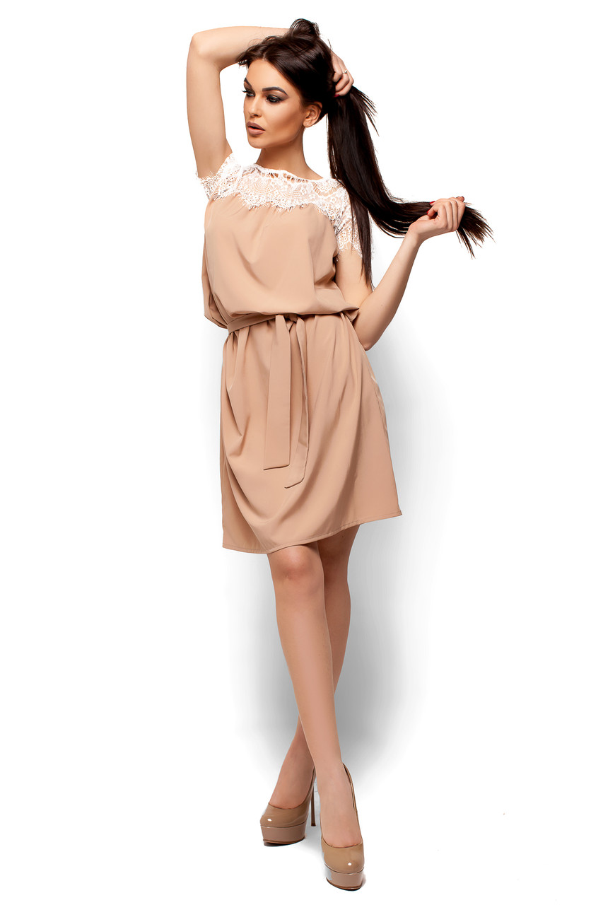 Легкое платье свободного кроя Karree бежевое