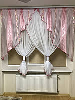 Тюль на кухню №290 на карниз 2-2,5м розовый
