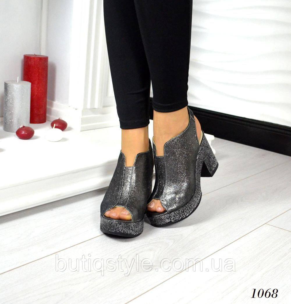 Женские  босоножки  на устойчивом каблуке никель, натур.кожа