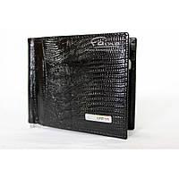 Зажим для грошей шкіряний чорний / Зажим для денег кожаный черный Karya 0455-076