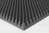 Акустический поролон пирамидка 90мм 1мх1м черный графит из акустического поролона