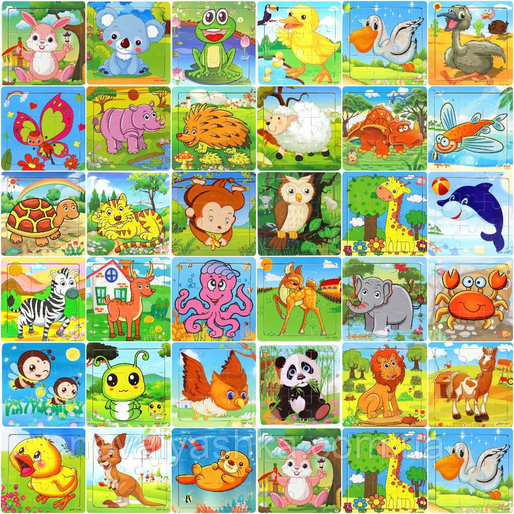 Деревянные Пазлы Животные Большие Цветные Деревянный Микс Видов Пазл WZP, 008428