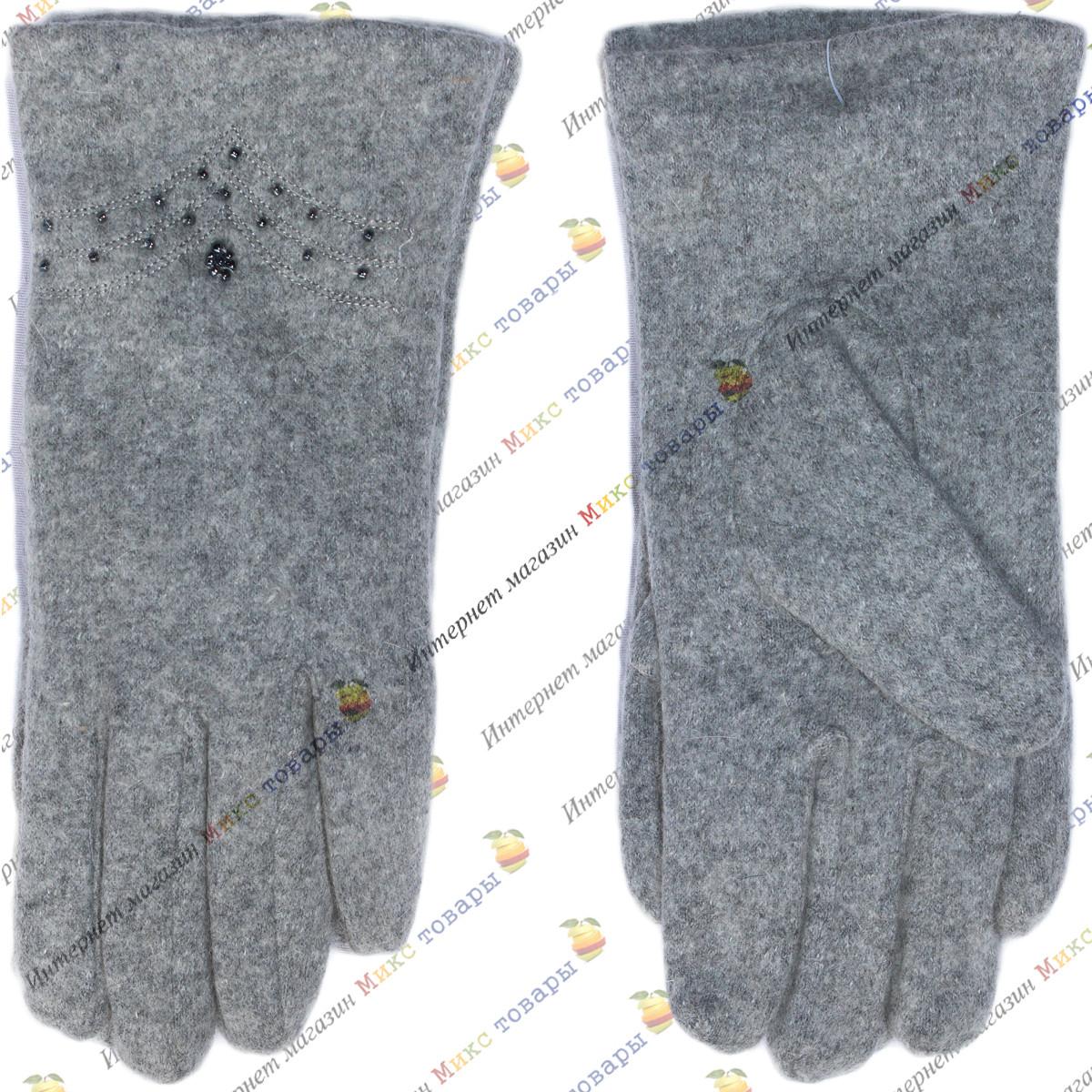 Серые женские перчатки Кашемир