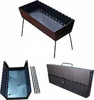 Складной мангал чемодан на 12 шампуров, толщина стали 2 мм, для похода или дачи
