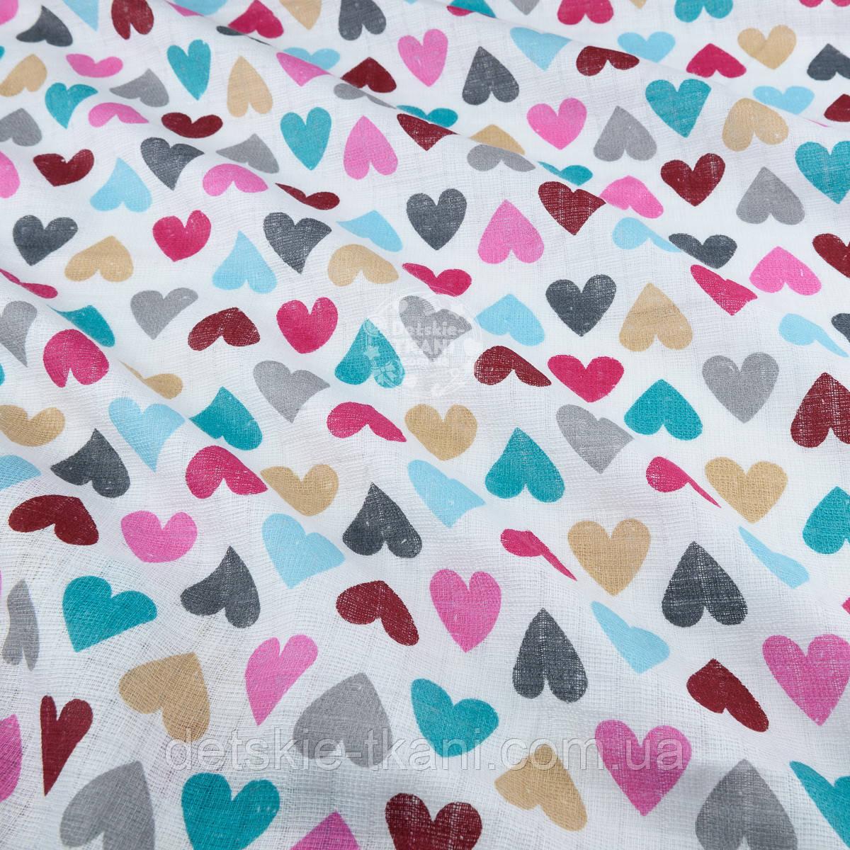 """Ткань муслин """"С разноцветными сердечками"""" розово-бирюзовыми, ширина 80 см"""