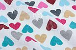 "Ткань муслин ""С разноцветными сердечками"" розово-бирюзовыми, ширина 80 см, фото 2"