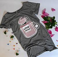 Платье для девочки В полоску с пайетками 7 лет Рост 122 Бело-черный 7180-6(122) Китай