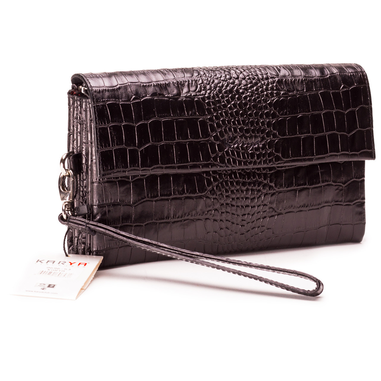 Чоловіча сумка барсетка шкіряна чорна   Мужская сумка барсетка кожаная  черная Karya 0696-53 1c4464c6d7b66