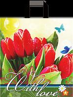 """Пакет с ручками петля """"Тюльпаны"""" (38х43+3)80мкм 25шт/упаковка"""