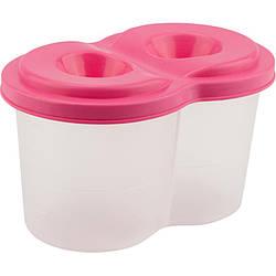 Стакан-непроливайка двойной, розовый