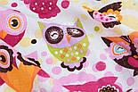 """Ткань муслин """"Индийские совы в розовых тонах"""", ширина 80 см, фото 2"""