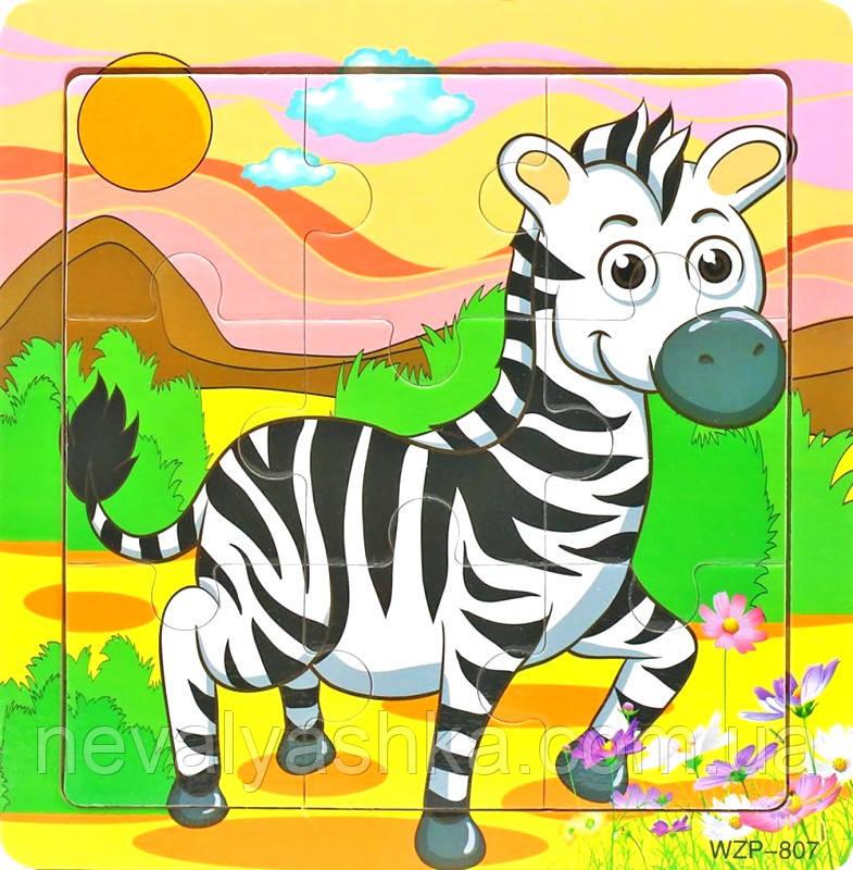 Деревянные Пазлы Животные Большие Деревянный Пазл Зебра WZP-805, 008428