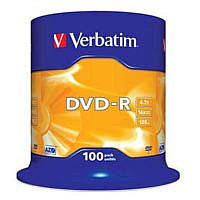DVD-R Verbatim (43549) 4.7GB, 16x, Cake Box, 100шт Silver
