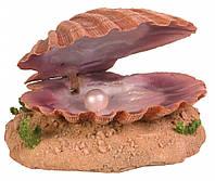 Декорация Trixie Sea Shell with Air Outlet для аквариума, раковина с жемчужиной, полиэфирная смола, 15 см