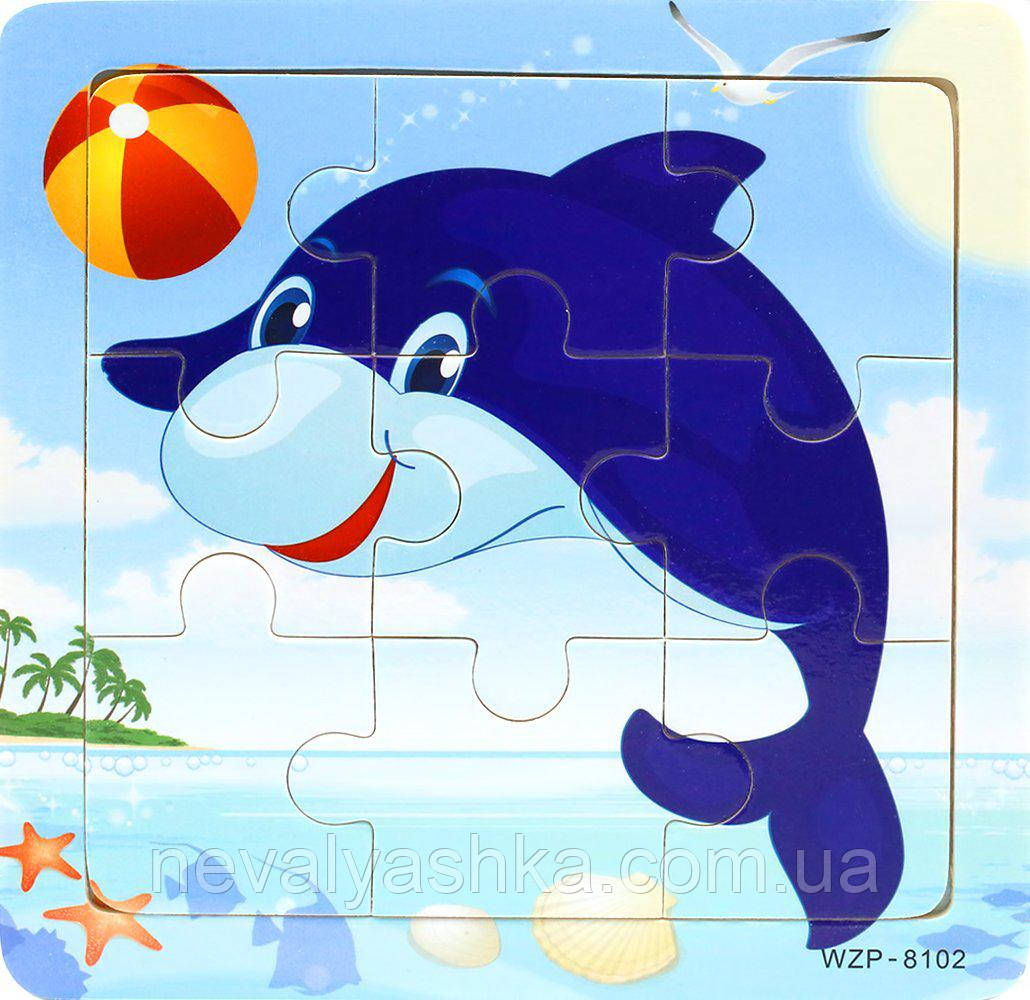 Деревянные Пазлы Животные Большие Деревянный Пазл Дельфин WZP-805, 008428