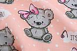 """Ткань муслин """"Мишки Girl с малиновым бантиком"""" на персиковом фоне, ширина 80 см, фото 2"""