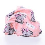 """Ткань муслин """"Мишки Girl с малиновым бантиком"""" на персиковом фоне, ширина 80 см, фото 3"""