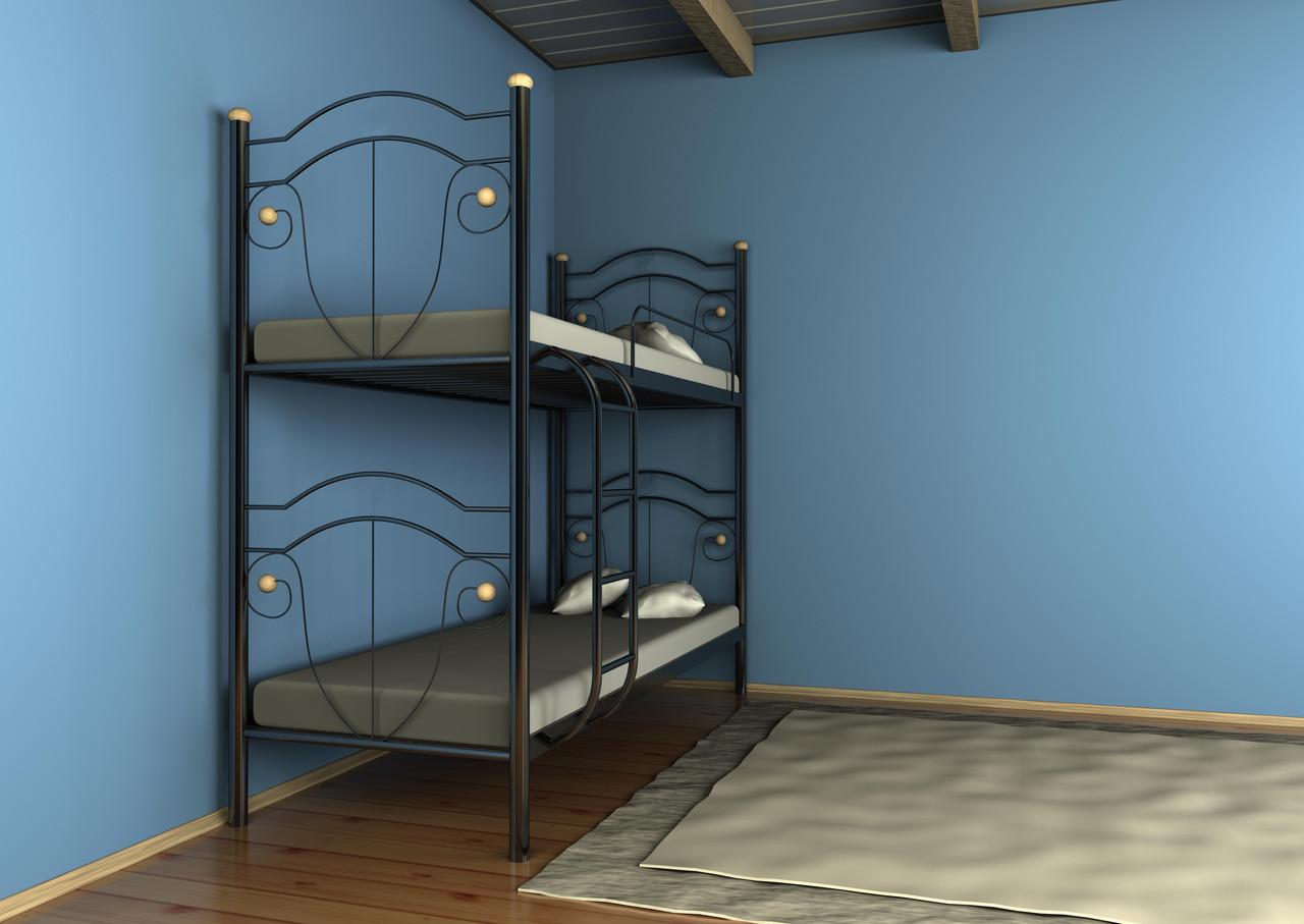 Двухъярусная кровать Диана черная 90*190 (Металл дизайн)