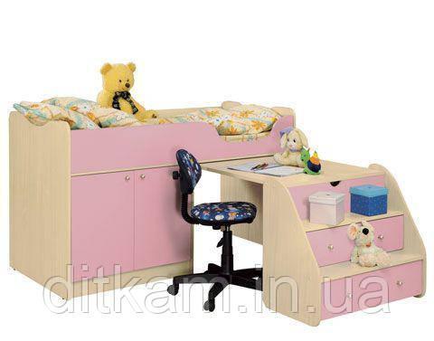 """Детская кровать-чердак """"Приют"""" с выдвижным столиком-комодом"""