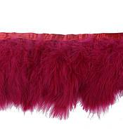 Перья Марабу (лебяжий пух) на ленте Бордовые 15 см/50 см, фото 1