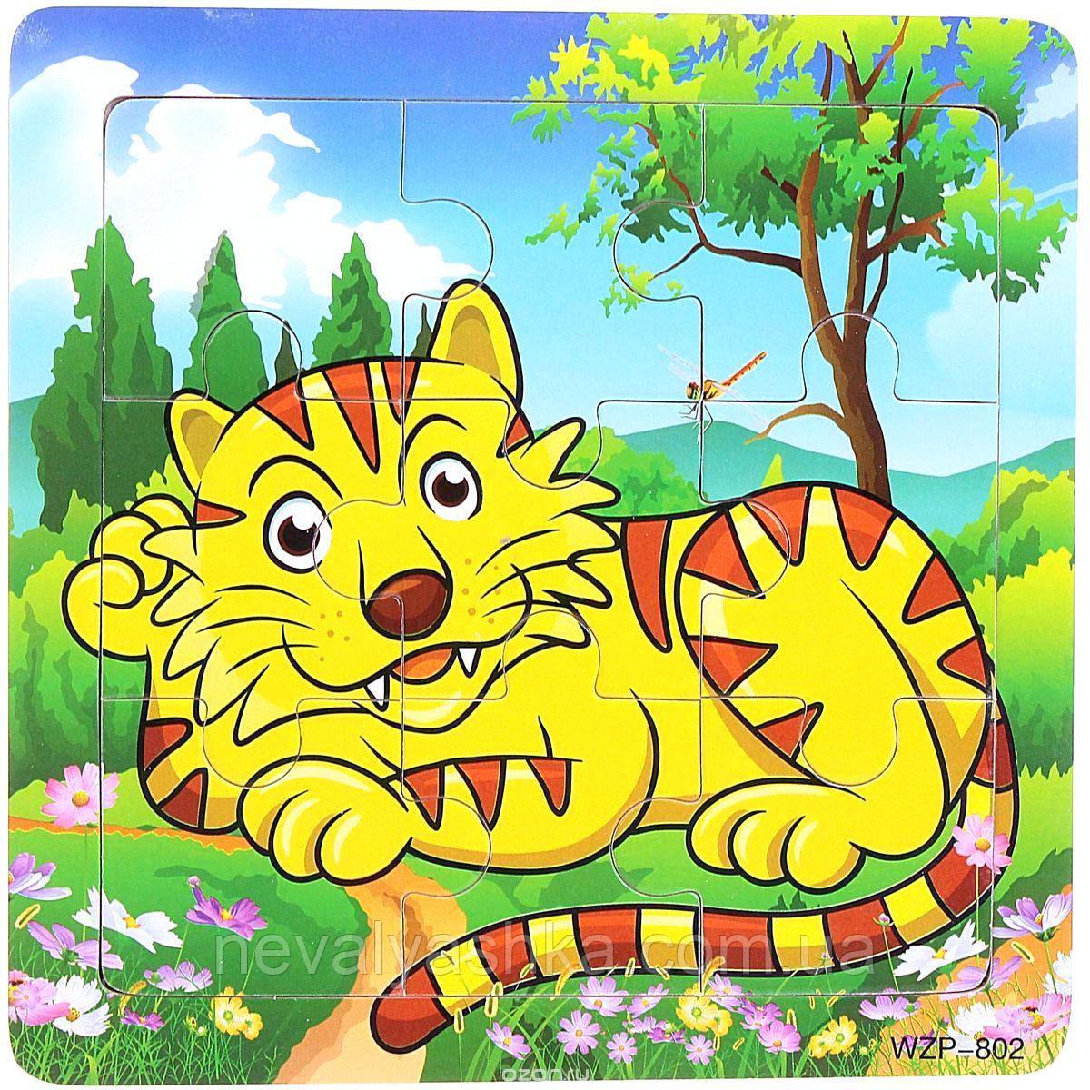 Деревянные Пазлы Животные Большие Деревянный Пазл Тигр WZP-805, 008428