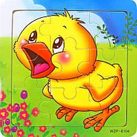 Деревянные Пазлы Животные Большие Деревянный Пазл Цыпленок WZP-805, 008428