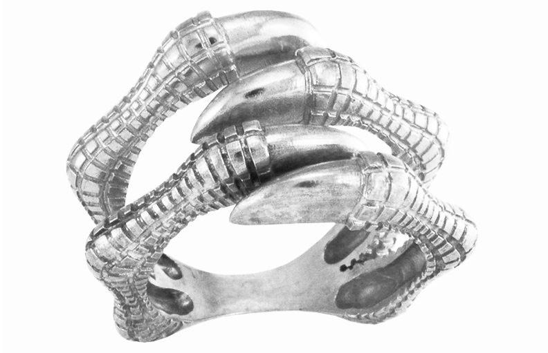 Кольцо унисекс серебряное Когти Динозавра