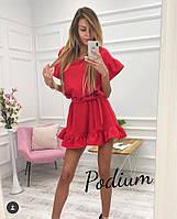 Короткое красное платье свободное с пышной юбкой