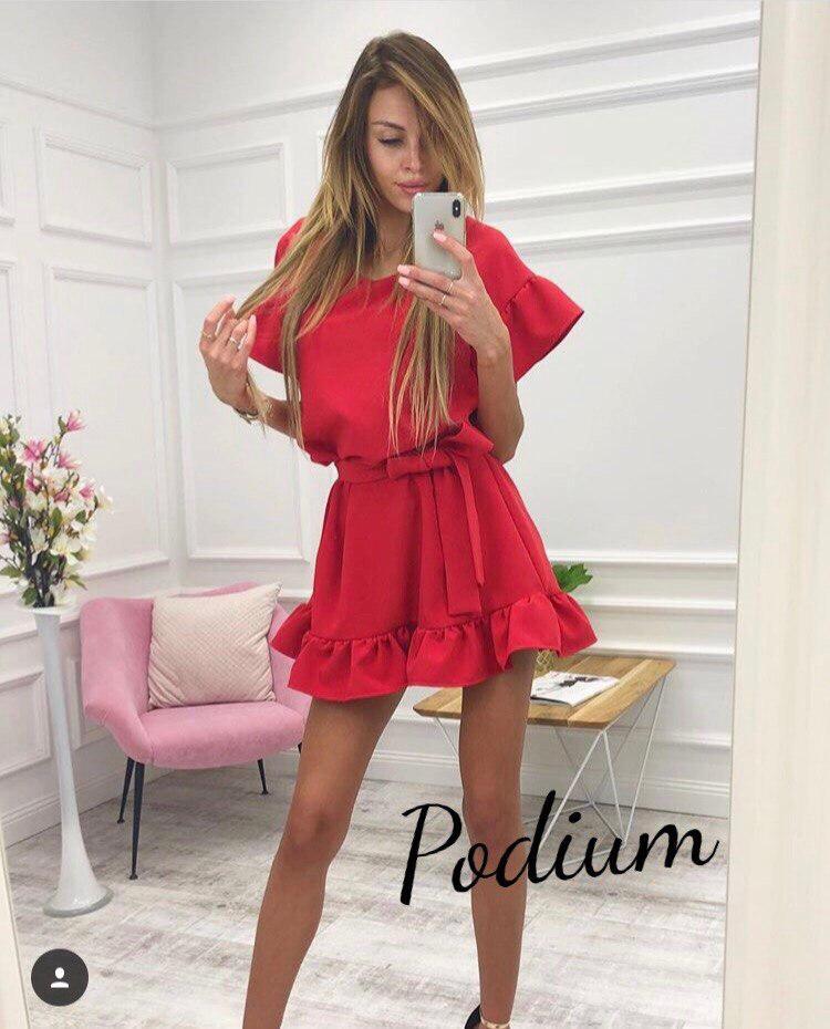 fb4b07289fbd995 Короткое красное платье свободное с пышной юбкой — купить недорого в ...