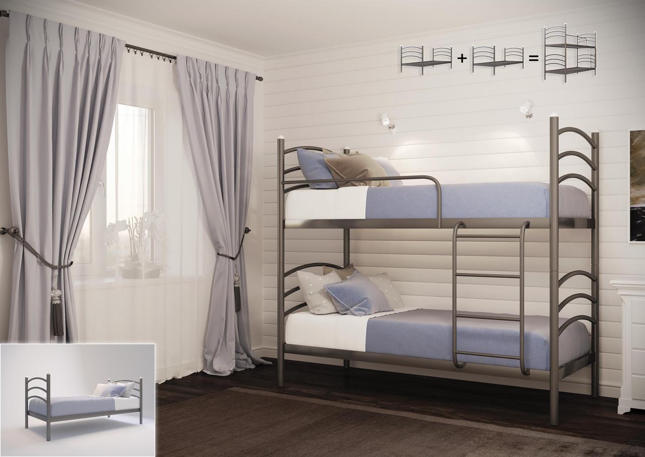 Двухъярусная кровать Маргарита Р черная 80*190 (Металл дизайн)