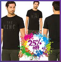 Черная мужская футболка LC Waikiki / ЛС Вайкики с надписью на груди The king, фото 1