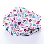 "Ткань муслин ""С разноцветными сердечками"" розово-бирюзовыми, ширина 80 см, фото 3"
