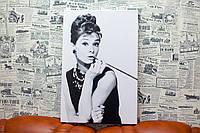 Одри Хепбёрн. Audrey Hepburn. 30х50 см. Картина на холсте.