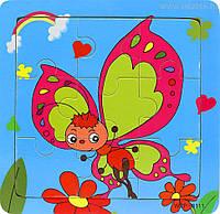 Деревянные Пазлы Животные Большие Деревянный Пазл Бабочка WZP-805, 008428