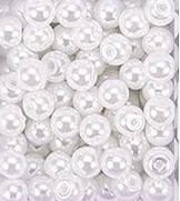 Бусины пластмассовые под жемчуг -  БЕЛЫЙ 6 мм (10гр), фото 1