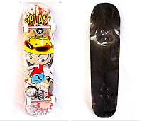 Скейт с рисунком снизу, верх наждачка  (Материал клен, подвеска метал, колеса резина, размер: 79 см*19 см.)