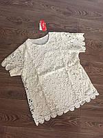 Блуза женская на лето ажурная с цветочным принтом (44-48)
