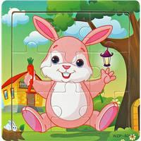Деревянные Пазлы Животные Большие Деревянный Пазл Зайчик WZP-805, 008428