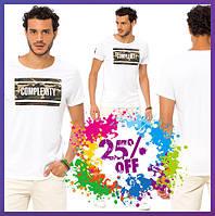 Белая мужская футболка LC Waikiki / ЛС Вайкики с надписью на груди Complexity