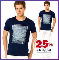 Синяя мужская футболка LC Waikiki / ЛС Вайкики с рисунком на груди M