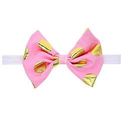 Детская розовая повязка в золотой горох - окружность 34-54см, размер банта 13см