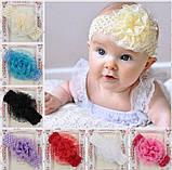 Детская малиновая повязка с цветком -  окружность 30-50см, размер цветка 9см, фото 2