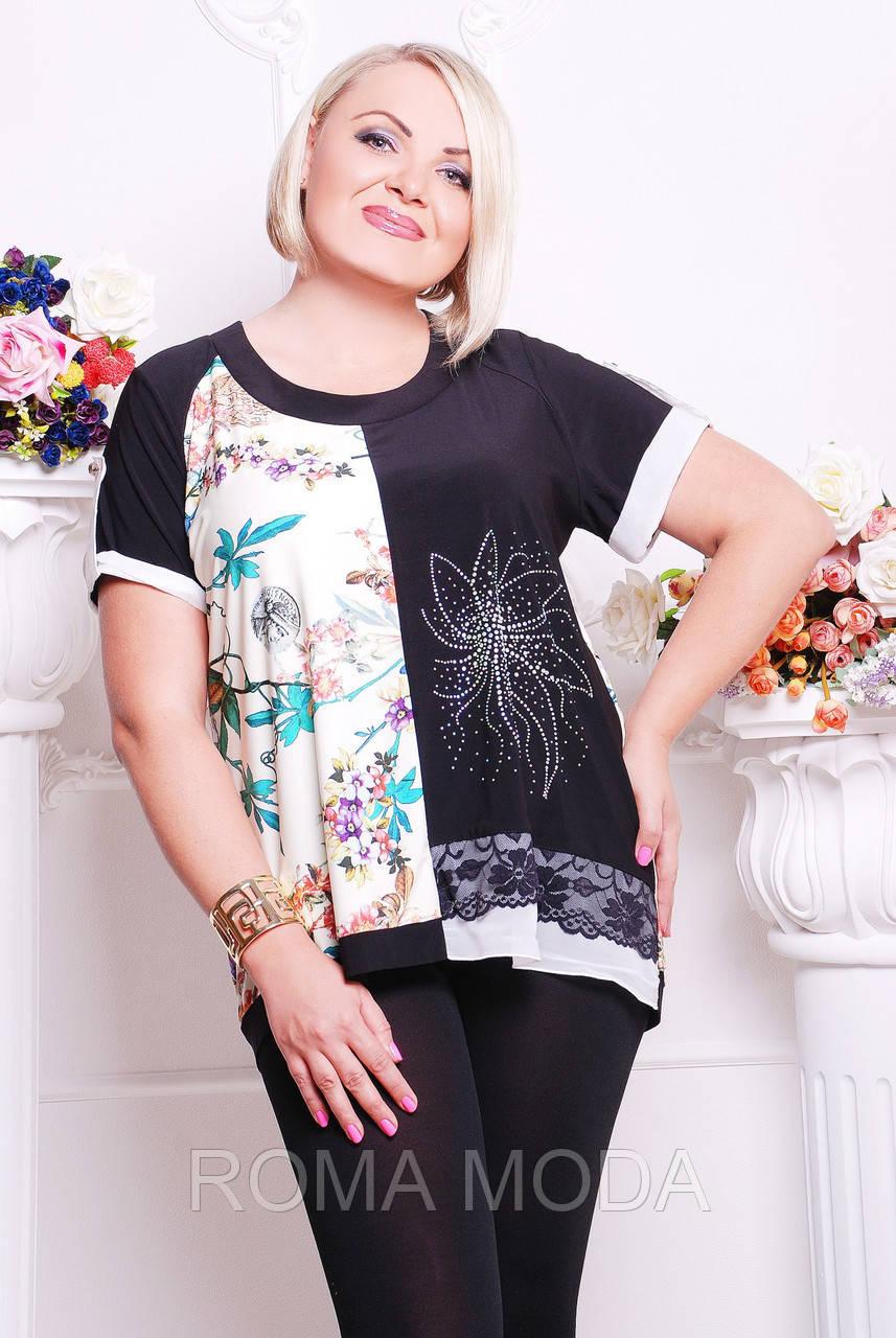Женская блуза с удлиненной спинкой в 2х цветах CI Мариса