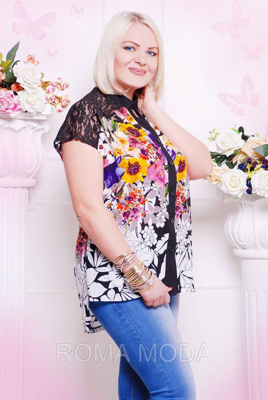 Блуза цветочной расцветки АЛИНА