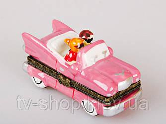 Шкатулка фарфоровая Розовый кабриолет, 7 см