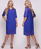 Льняное платье больших размеров женское прямое летнее лен с гипюром