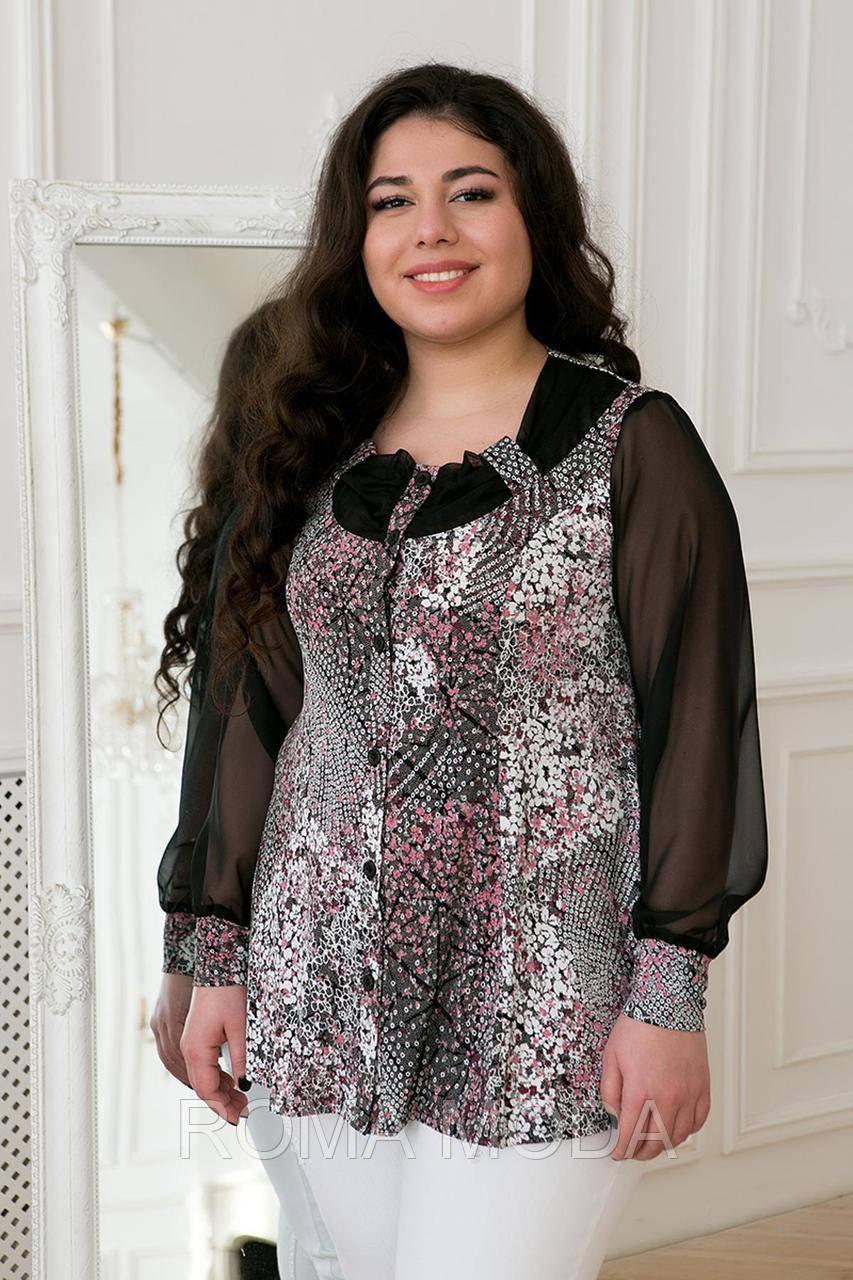 Блуза с шифоновым рукавом принт ГАБИ в 3х цветах